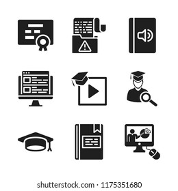 learning icon. 9 learning vector icons set. audiobook, online class and data icons for web and design about learning theme