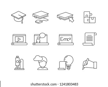 Learning icon. Online education training courses special school or university app vector linear symbols isolated