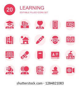 learning icon set. Collection of 20 filled learning icons included Graduation, Literature, Mental health, Ebook, Diploma, Magazine, Kindergarden, Crayon, Student, Book, Books
