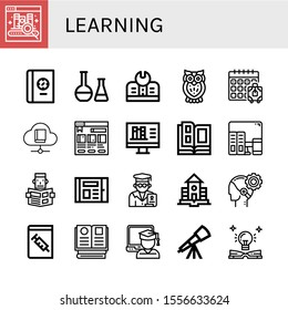 learning icon set. Collection of Ebook, Book, Chemical, Education, Owl, Booking, Bookstore, Online library, Catalog, Learning, Reading, Professor, School, AI, Medical book icons