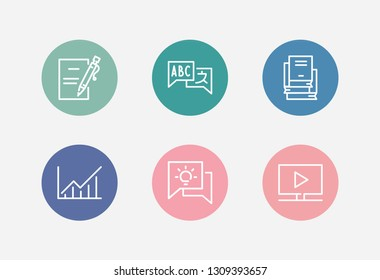 Learning icon set and course stats with faq knowledge, course materials and enroll submit. Live video related learning icon vector for web UI logo design.