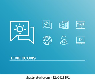 Learning icon set and course video with digital education, programming and online student. E-learning related learning icon vector for web UI logo design.