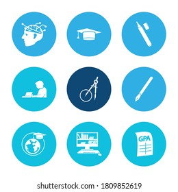 Learning icon set and geometry with global education, gpa and self study. Graduate related learning icon vector for web UI logo design.