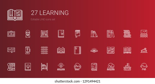 learning icons set. Collection of learning with open book, workflow, teacher, bookshelf, book, books, abacus, diary, library, student, school. Editable and scalable learning icons.