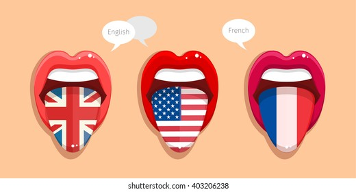 Learning languages concept. Learning English, American and French. Open mouth with flag of Britain. English language. Open mouth with flag of USA. French language. Open mouth with French flag.
