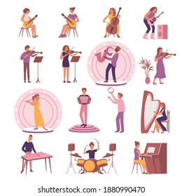Learning music set with isolated icons and flat images of instruments with playing people and podiums vector illustration