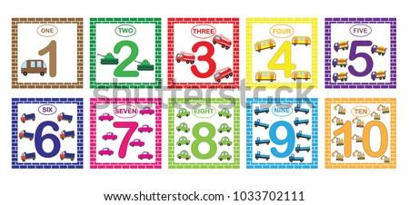 learning numbers mathematics cars transport flash のベクター画像