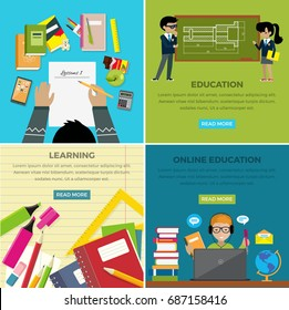 Learning and online education lesson web banner of four pictures. Boy writing word on paper and office supplies around, boy and girl near blackboard, teenager in headphones using laptop studies online