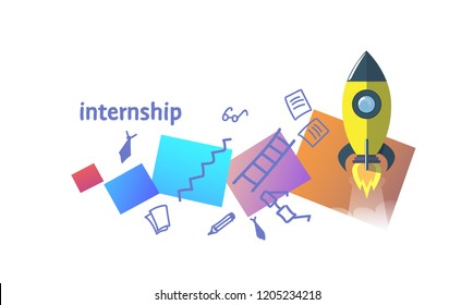 learning practice successful experience internship concept sketch doodle horizontal vector illustration