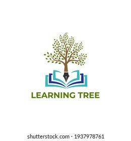 learning tree logo design. education logo. university and college school. learning logo