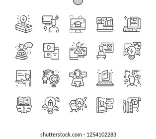 Learning Well-crafted Pixel Perfect Vector Thin Line Icons 30 2x Grid for Web Graphics and Apps. Simple Minimal Pictogram