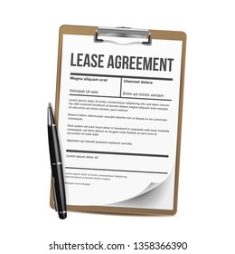 Lease Vector. Home Rent Blank Document Lease. Contract Loan Property. Illustration