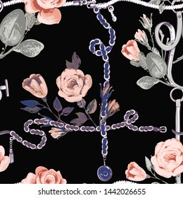 Leather belt cross rope seamless pattern. Baroque fabric design. Vintage floral sketch seamless pattern on black background. Flowers on belts, nature and art.