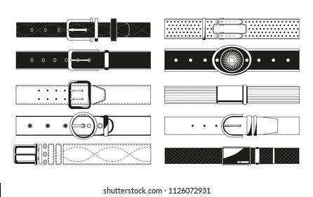 Leather belt monochrome pictures. Leather belt accessory, waistband black white. Vector illustration