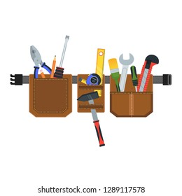 Leather Belt with tools. Conceptual image of tools for repair, construction and builder. Concept image of work wear. Cartoon flat vector illustration. Objects isolated on a background.
