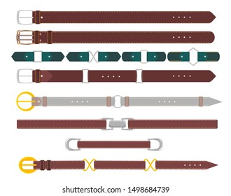 Leather belts. Leather belt with metal steel buckle vector set isolated, straps elegant garments and trousers fashion accessories