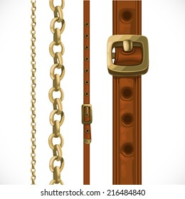 Leather belts with brass buckles and large and small seamless chain