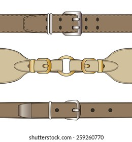 Leather belts with  buckles. Isolated over white. Vector illustration.