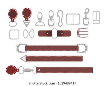 Leather belts with carabiner clasp collection vector. Hook accessory illustration. Buckles. Metal buckle furniture production for fashion leather belts belt, men strap clasps illustration