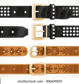 Leather belts with rivets and embroidery buttoned and unbuttoned isolated on white background