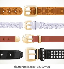 Leather belts with rivets and embroidery unbuttoned isolated on a white background