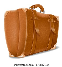 Leather big travel suitcase. Detailed and isolated on white background
