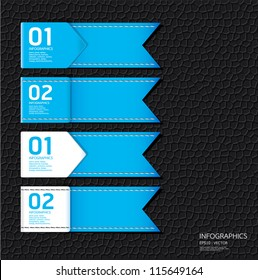 Leather blue color Design template / can be used for infographics / numbered banners / horizontal cutout lines / graphic or website layout vector