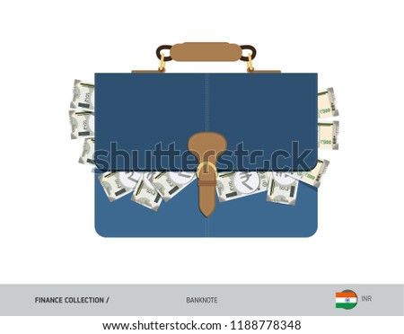f42284eb3e61 Leather briefcase with 500 Indian Rupee Banknotes. Flat style vector  illustration. Salary payout or