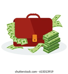 Leather brown banker businessman portfolio, stuffed to top with dollar bills. Bundle of money lies next to suitcase Flat vector cartoon illustration. Objects isolated on a white background.