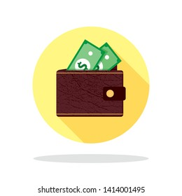 Leather brown wallet with green paper money with dollar banknote design. Flat vector icon with long shadow. Cash return. The concept of online payments.