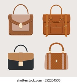 Leather handbag, portfolio, briefcase business style collection for ladies and gentlemen. Trendy accessory. Isolated objects. Vector illustration