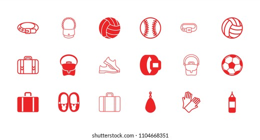Leather icon. collection of 18 leather filled and outline icons such as bag, volleyball, fotball, belt, gloves, boxing bag, luggage. editable leather icons for web and mobile.
