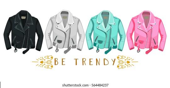Leather Jacket. Be trendy. Punk rock fashionable style.