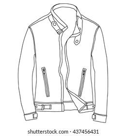 Leather jacket vector, icon, sketch