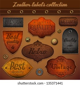 Leather labels collection - eps10