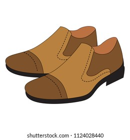 Leather Man Shoe cartoon. Outlined illustration with thin line black stroke