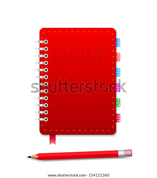 Leather notebook and pencil isolated on the white. Vector illustration