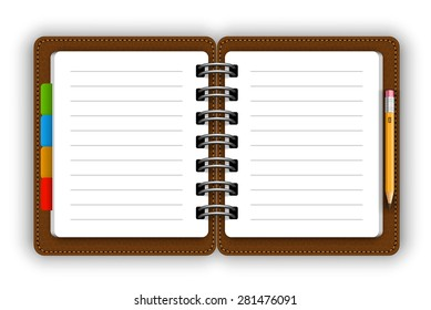 Leather opened notepad with pencil vector