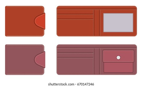 Leather purse in open and closed form with pockets for documents and credit cards, with contrasting lines along the contour on the clasp. Vector illustration in flat style..