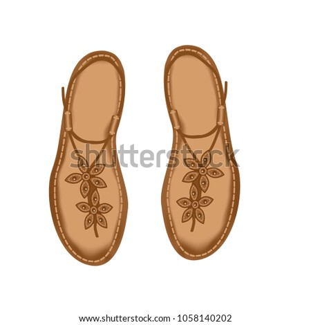 431373ba4 Leather Sandals Women Decorated Stitch Flowers Stock Vector (Royalty ...