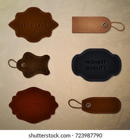Leather set collection. Tags and labels