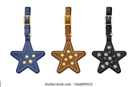 leather star bag charms set, star tags with detachable strap with crystal/ metal studs/ rivets, vector illustration sketch template