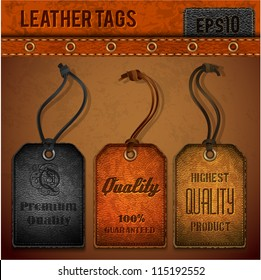 Leather tags set - eps 10