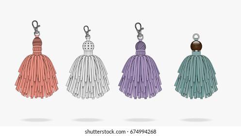 Leather tassels handbag accessories key chain illustration