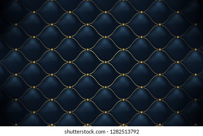 Leather texture. Abstract polygonal pattern luxury dark blue with gold
