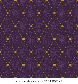 Leather texture background with stitched gold stripe. Vector abstract purple upholstery background. Seamless pattern