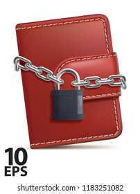 Leather wallet with padlock and chain on white isolated background. Concept of protecting money and safety personal finances. Vector 3d illustration