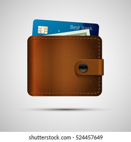 Leather wallet realistic with blue credit card and green dollar. Vector illustration, eps 10. Brown wallet with money isolated with shadow.