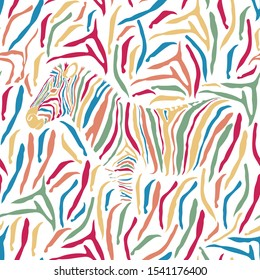 Leather Zebra multi-color pattern striped. Animal print, vivid detailed and realistic textures. Wallpaper seamless background. Vector illustration