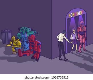 leave broken humanoid robot outside shop